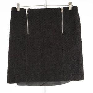 ANN TAYLOR Loft – Black Tweed Zipper Skirt – 6